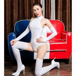 Image 4 - 3pcs/set Ice Silk Glossy Crotchless Bodystocking Sexy Hot Erotic Open Crotch Bodysuit Lingerie Body Suit Babydoll Exotic Teddies