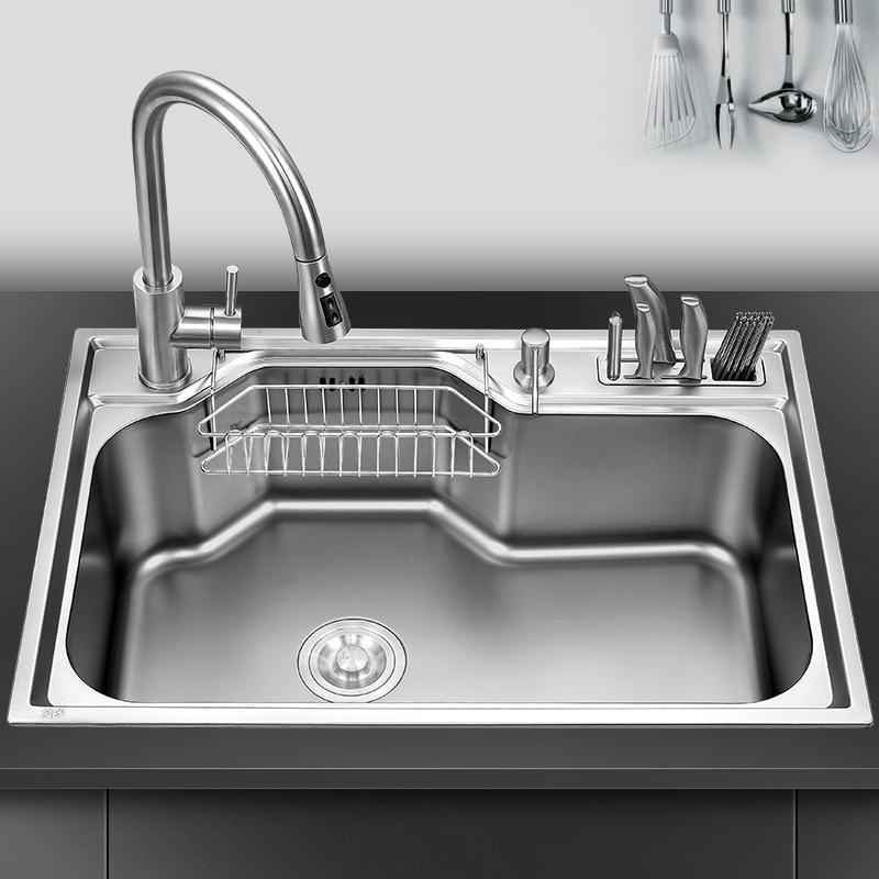 Кухонная раковина над стойкой или ударопрочная раковина для мытья овощей раковина из нержавеющей стали с одной чашей Толщина 1,2 мм раковина...