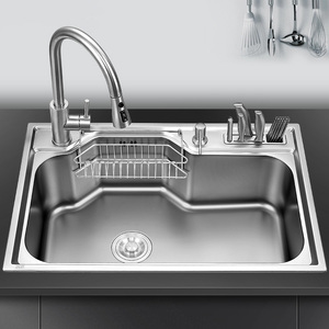 Image 1 - kitchen sink above counter or udermount sinks vegetable washing basin stainless steel single bowl 1.2mm thickness sinks kitchen