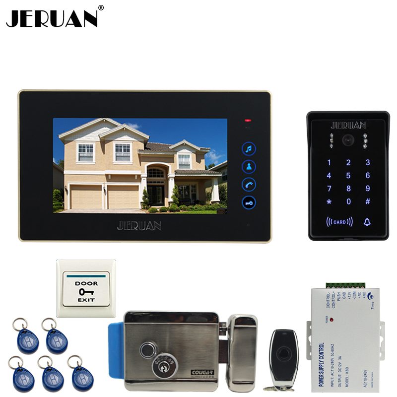 JERUAN Wired 7`` Touch key video doorphone intercom system kit waterproof touch key password keypad camera Electric control lock jeruan wired 7 touch key video doorphone intercom system kit waterproof touch key password keypad camera 180kg magnetic lock
