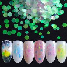 AB color fluorescent Nail Glitter  Star Ultra-thin Moon Floral Shape Fluorescent Flakes Art Manicure Decoration
