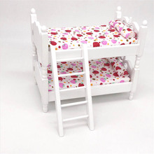 1/12 Dollhouse Miniature Accessories Mini Wooden Bunk Bed Baby Chair Simulation Furniture Model Toys for Doll House Decoration