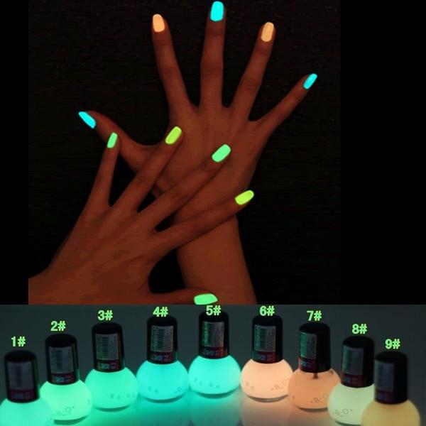 Non toxic Neon Fluorescent Luminous oil matte nail polish candy 12 ...