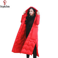 Women Winter Jacket Long White Duck Down Coat 2018 New Ladies Winter Clothing Over Knee Parkas Plus Size Clothes Female CH578