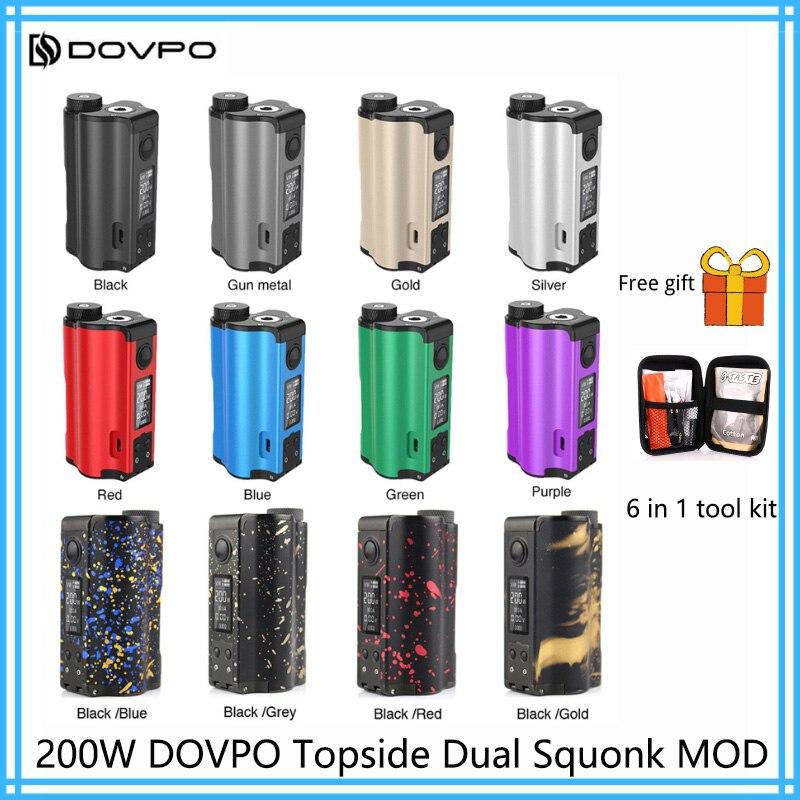 Original 200 W DOVPO Topside double remplissage supérieur TC Squonk MOD avec 10 ml Squonk bouteille e-cig Vape boîte Mod VS glisser 2/Naboo Mod