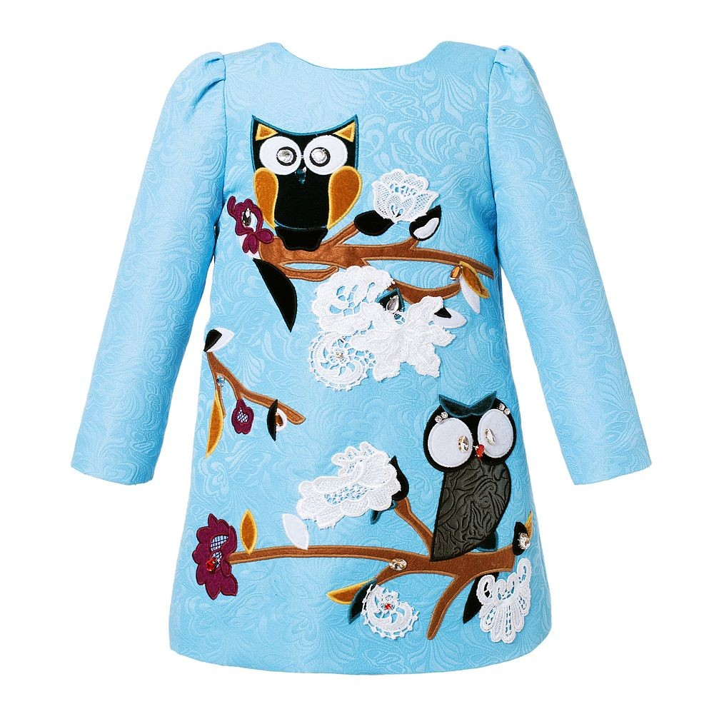 Woman Dresses 2017 Brand Handmade Princess Dresses Long Sleeve A Line Mother Dresses Bird Print Designer Party Dress for Mum