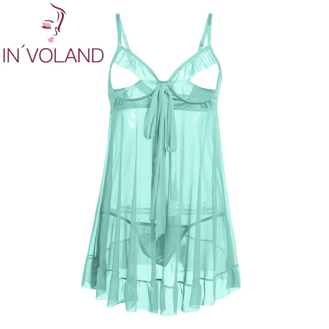 4228f15f78b IN VOLAND Plus Size Women Sexy Lingerie Dress Sleepwear 4XL Cupless Ruffled  Sheer Babydoll Set Nightgowns Sleepshirt With Thongs-in Nightgowns    Sleepshirts ...