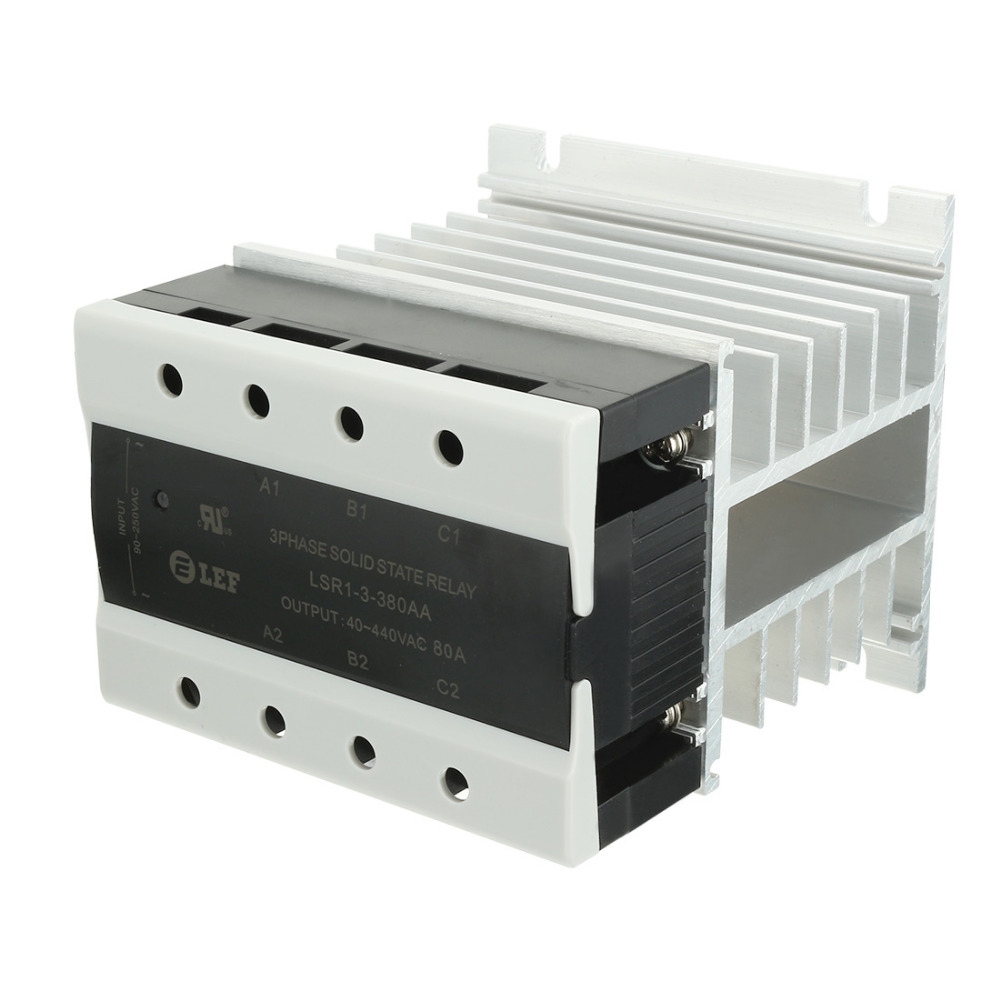 New AC to AC 80A 90-250VAC to 40-440VAC SSR Thermal Compound 3 Phase Solid State Relay + Heat Sink UL Recognized LSR1-3-380AA