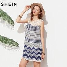 SHEIN Boho Wave Print Lace Dress Blue Vintage Women Yoke Shift Casual Summer Dresses 2017 Fashion Mini A Line Beach Tank Dress