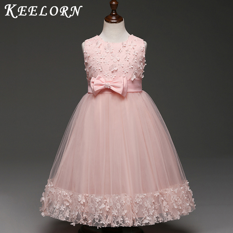 2018 New high quality Flower Girls Party Dress Embroidered Formal Bridesmaid Wedding Girl Christmas Princess Ball Gown Kids kids girls bridesmaid wedding toddler baby girl princess dress sleeveless sequin flower prom party ball gown formal party xd24 c