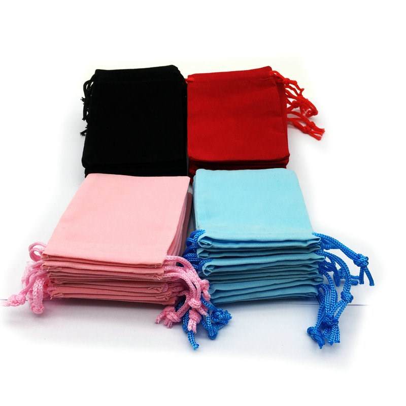 100Pcs/Lot 7x9cm Velvet Drawstring Pouch Bag Jewelry Bag Christmas Wedding Gift Bags Black Red Pink Blue 5 Color