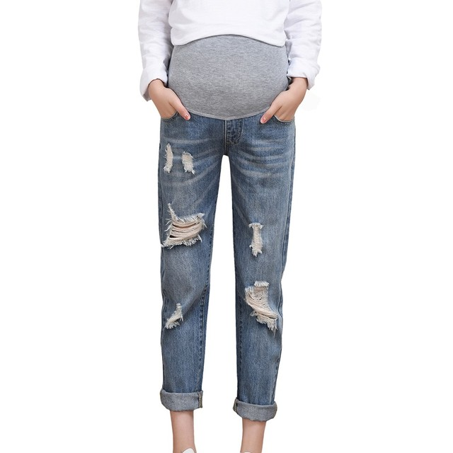 Ropa maternidad 임신 한 여자 찢어진 청바지 출산 바지 바지 간호 소품 배꼽 legging embarazada grossesse hot #06
