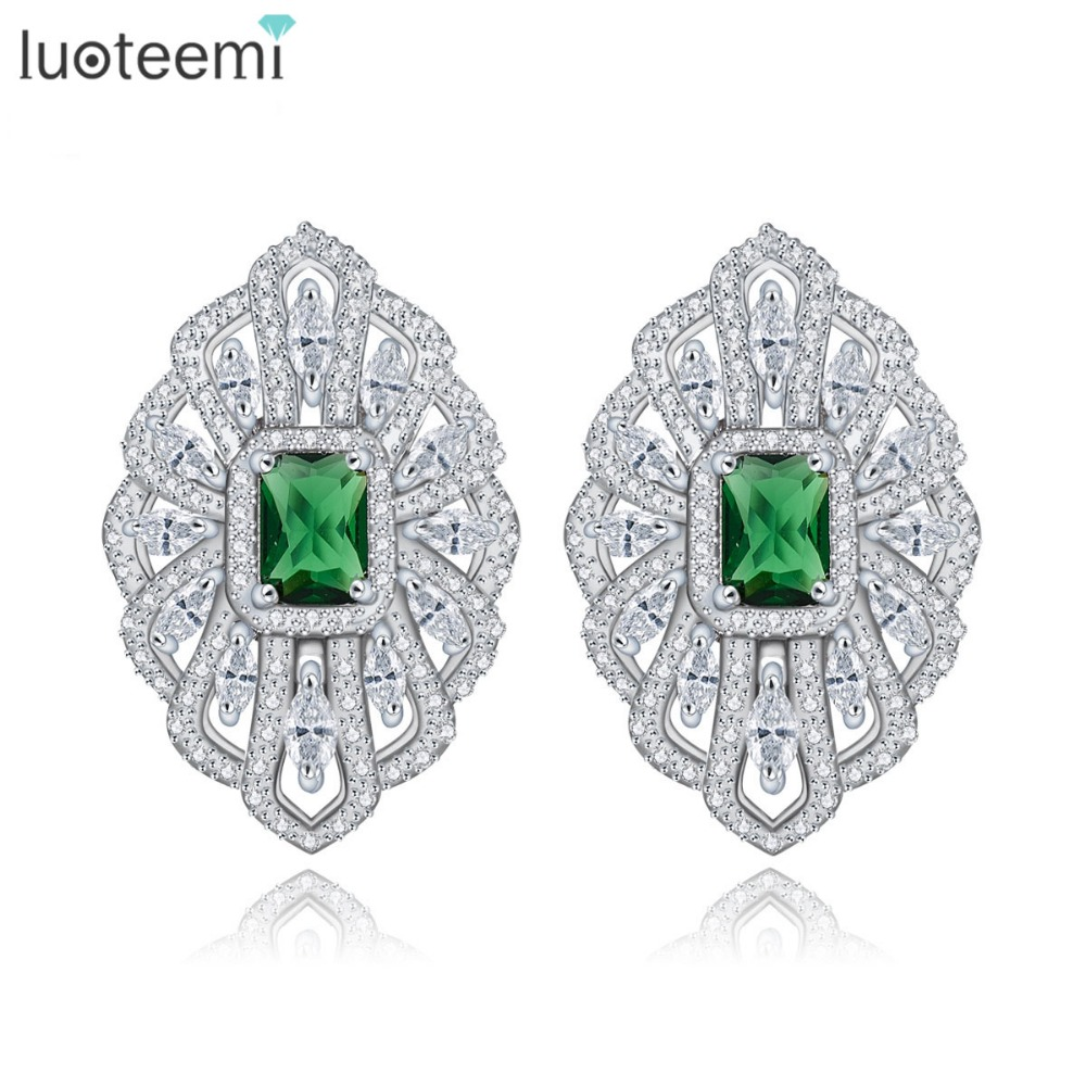 LUOTEEMI Rhodium Plated Brinco Bijoux Silver Color Green Glass Zircon Geometric French Clip Stud Earrings For Women Accessories