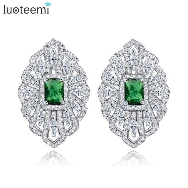 LUOTEEMI White Gold Color Brinco Bijoux Silver Color Green Glass Zircon Geometric French Clip Stud Earring For Women Accessories