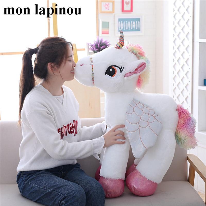 120 cm gros peluche licorne jouet en peluche grand animal doux poupée mignon licorne cheval grande peluche poupée enfants jouets cadeau pour elle