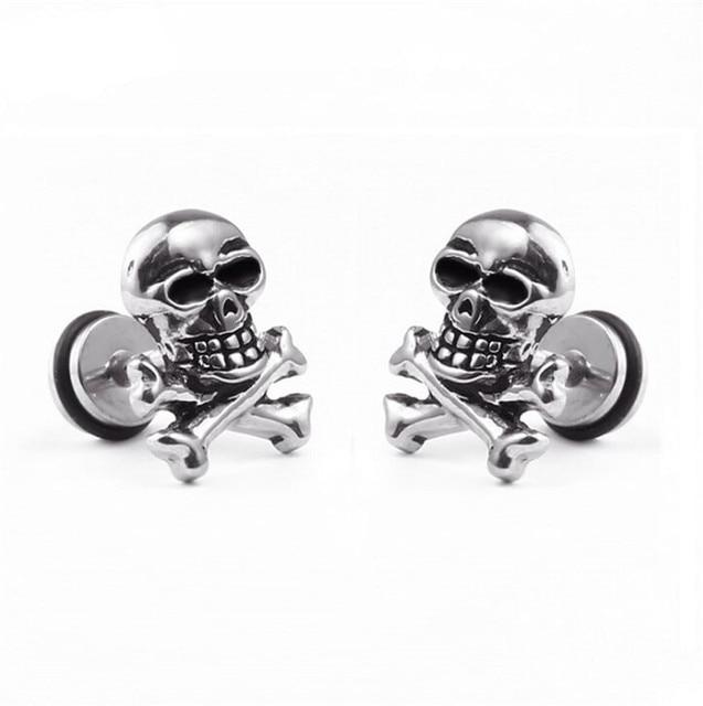 9563add25 1 pcs Stainless Steel Skull Stud Earrings for Men/Women Punk Hip Hop Male  Jewelry