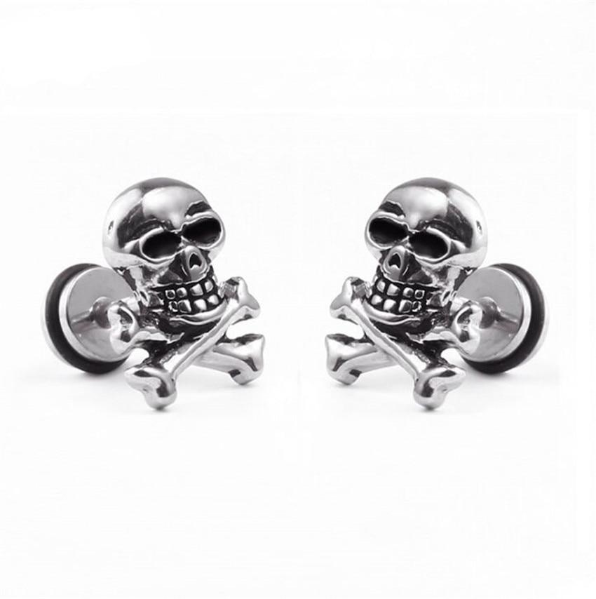 1 pcs Stainless Steel Skull Stud Earrings for Men/Women Punk Hip Hop Male Jewelry Halloween Earring Man Gifts Bijoux