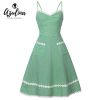 AZULINA Cute Vintage Women 50s 60s Dress Backless Spaghetti Strap Sleeveless Lace Green Female Elegant Party