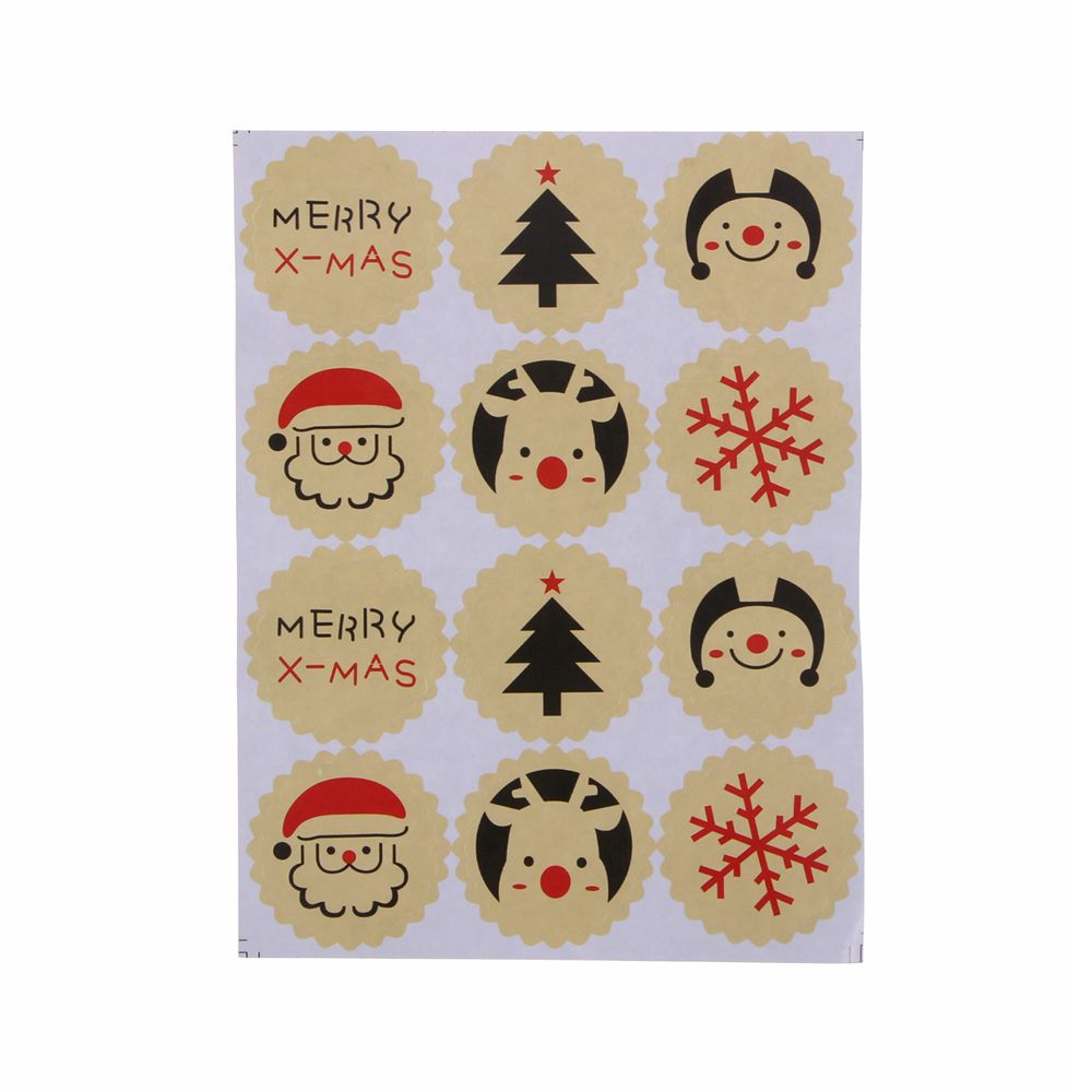 120PCS/10sheets  Merry Christmas Theme Sealing Sticker DIY Gifts Posted Baking Decoration Package Multifunction Label