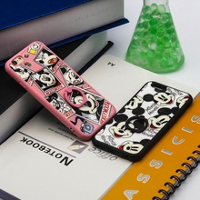 Ringcall Cartoon TPU Soft Phone Case for Apple iPhone 5 5S SE 6 6S 7 7 Plus Mickey Mouse Minnie Ring Holder Back Cover Case