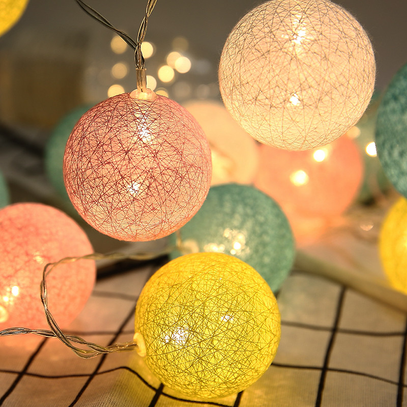3M Christmas Lights LED Cotton Ball Lights String Battery Operated Holiday Wedding Party Bedroom Decors DIY Lanterns 6cm Bulbs
