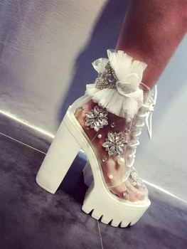 Rhinestone Pearl Beaded Ankle Boots Women Canvas Vulcanize Summer Sandals Height Increased Thick Platform Lace Pumps