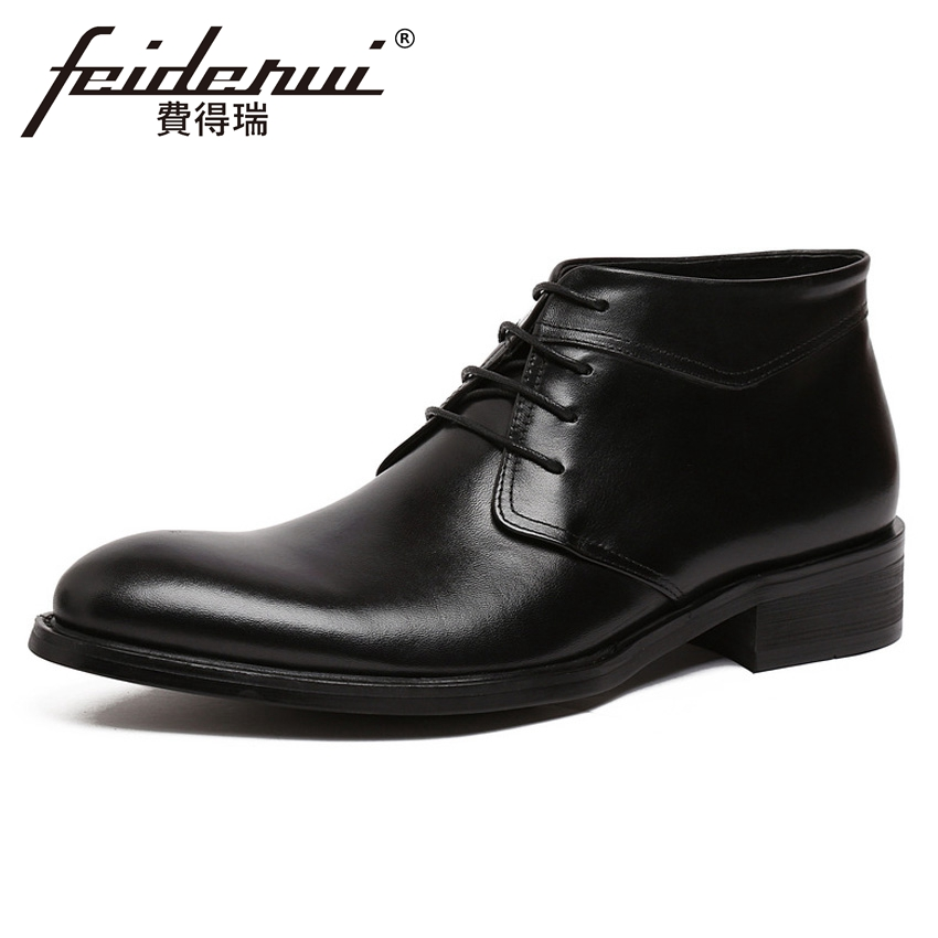 Vintage Designer Genuine Leather Mens Ankle Boots Round Toe Lace-up High-Top Handmade Cowboy Wedding Party Man Shoes YMX407