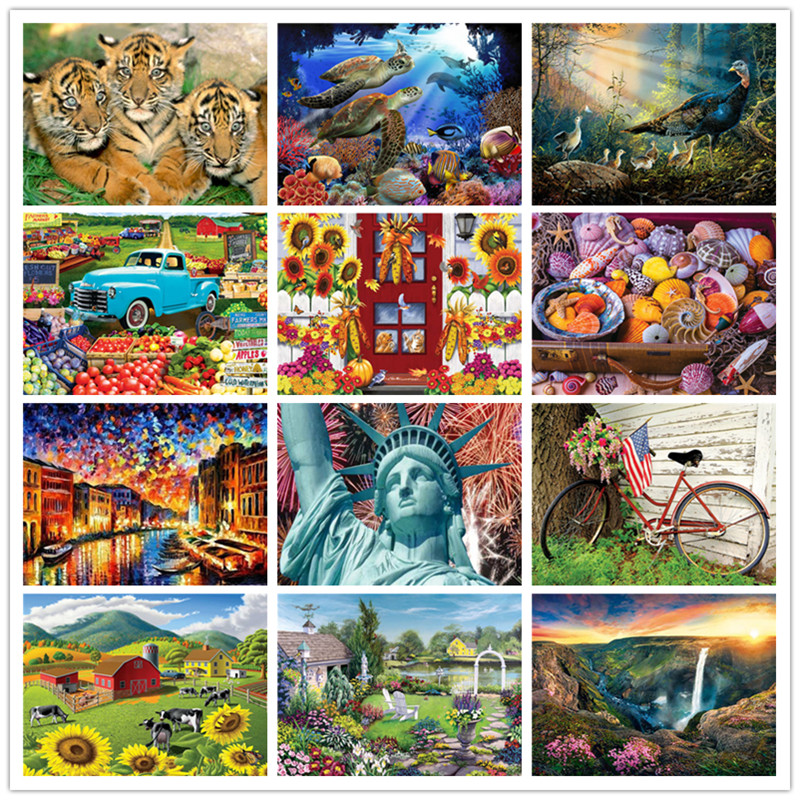 DIY landscape 5D diamond painting cross stitch flower full circle mosaic diamond embroidery painting in Diamond Painting Cross Stitch from Home Garden