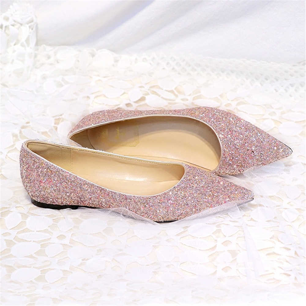 ... New wedding sequins flat Women s shoes female pointed single flat and shallow  gold pink brides bridesmaids 587d873778e6