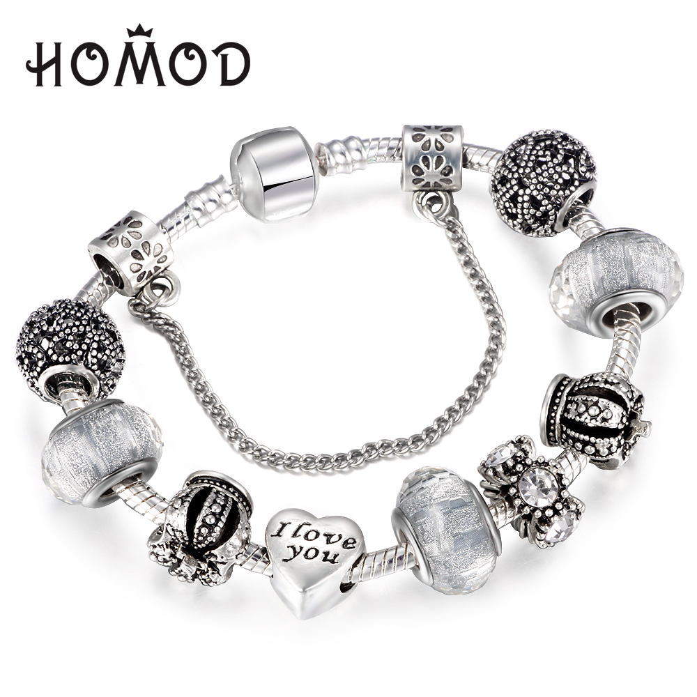 HOMOD Dropshipping Vintage Royal Crown Crystal Love Charm Bracelet Women Snake Chain Brand Bracelet Female Jewelry