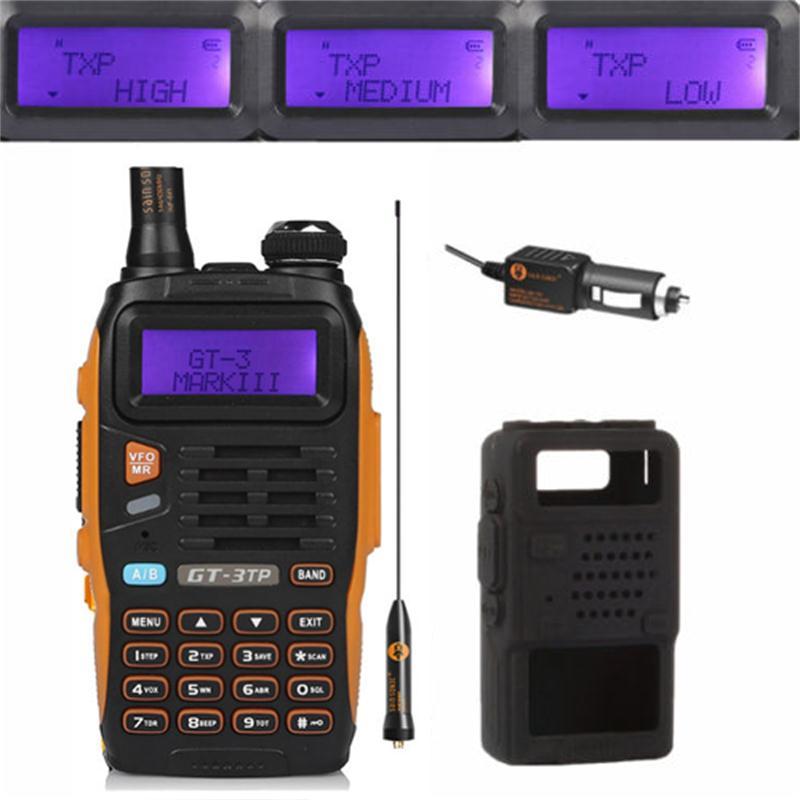 Baofeng GT-3TP MarkIII TP 1/4 / 8Watt High Power DualBand 136-174 / 400-520MHz Ham Two-way Radio Walkie Talkie met koffer / autolader