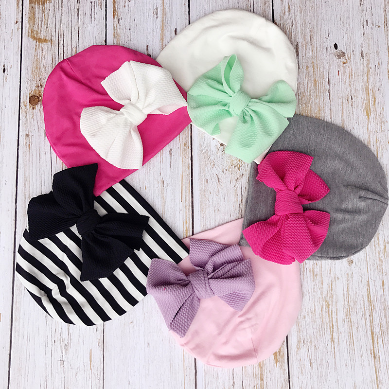 Baby Hat Infant Cotton Caps  Baby Beanies Big Bow Spring Autumn Children Hat  Baby Girls Hats Photo Props