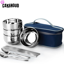 CAKEHOUD New Creative Portable Stainless Steel Outdoor Cutlery Set Picnic Travel Dinnerware Tool Tableware