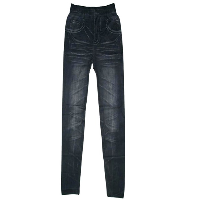 2016 Women Stonewash Denim Skinny Leggings Stretchable Pencil Pants  Faux Jeans Trousers