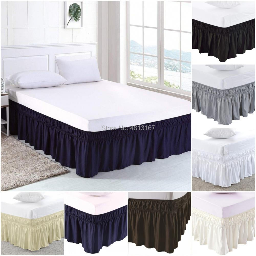 Wrap Around Bed Skirt Elastic Dust Ruffle Bed Skirts Solid Color Easy On Easy Off Wrinkle & Fade Resistant Classic Stylish 38cm Excellent In Cushion Effect