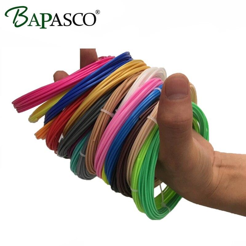 3D принтер BAPASCO 15 рулонов / лот Образцы PLA накаливания 1,75 мм 15 цветов 5M / Точность цвета MakerBot / RepRap / Mendel / 3D Pen / 3D принтер