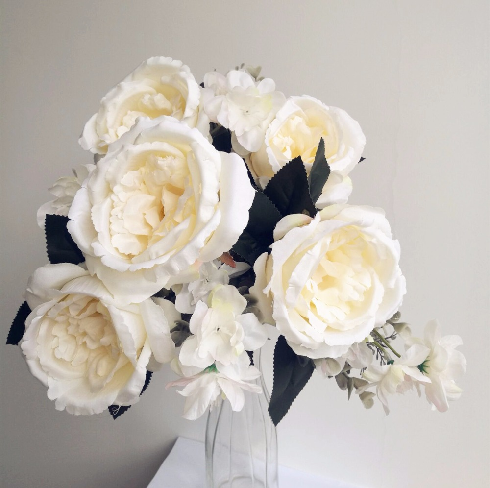 One rose bunch hybrid rose flower bunch with little flowers 42cm for one rose bunch hybrid rose flower bunch with little flowers 42cm for bridal bouquet wedding centerpiece table floral decoration in artificial dried izmirmasajfo
