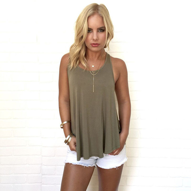 04ac1fc264 Summer Women fashion new casual Sleeveless Backless Low Cut cotton top Tee solid  loose o-neck vest tank tops