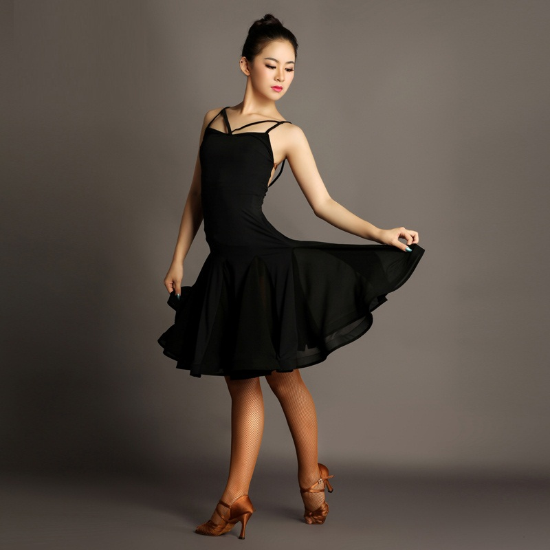 Picture of 2016 New Sexy Woman Black Flower Latin Dance Dress For Competition Female Elegant Rumba/Samba/Chacha Square Dance Practice Dress