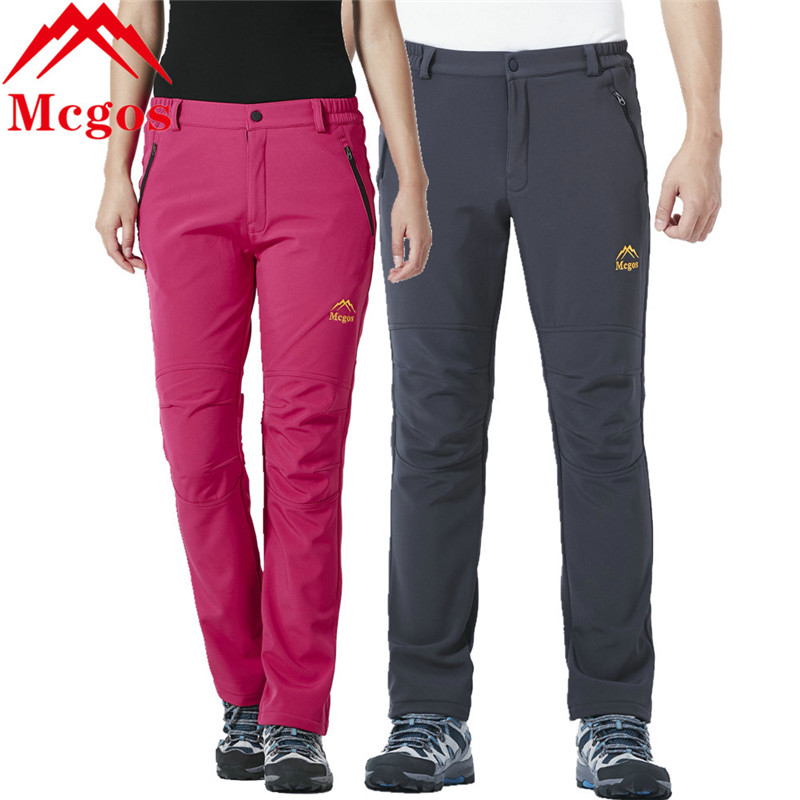 Winter Outdoor Sports Softshell Fleece Warm Pants For Women And Men Hiking Camping Trekking Fishing Trousers Waterproof Pants