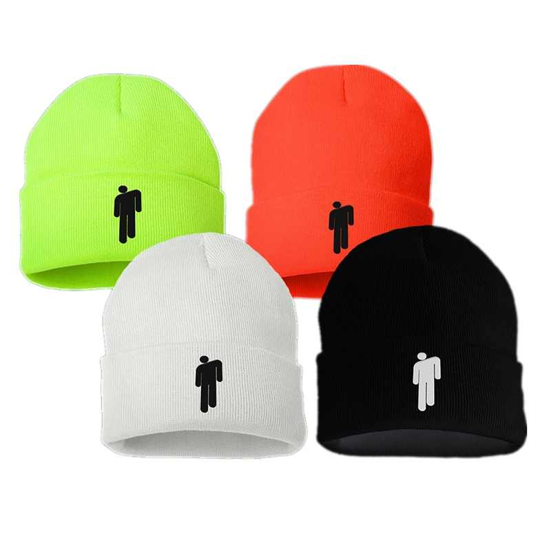 18 Colors Billie Eilish Acrylic Casual Beanies Men Women Knitted Winter Hat Embroidery Boys Girls Skullies Bonnet Drop Shipping