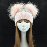 Real Fur Winter Hat Women Wool Cap Cashmere Angola 2 Two Fur Pom Pom Hat Brand Thick Women Hat Girls Caps Knitted Beanies Hat