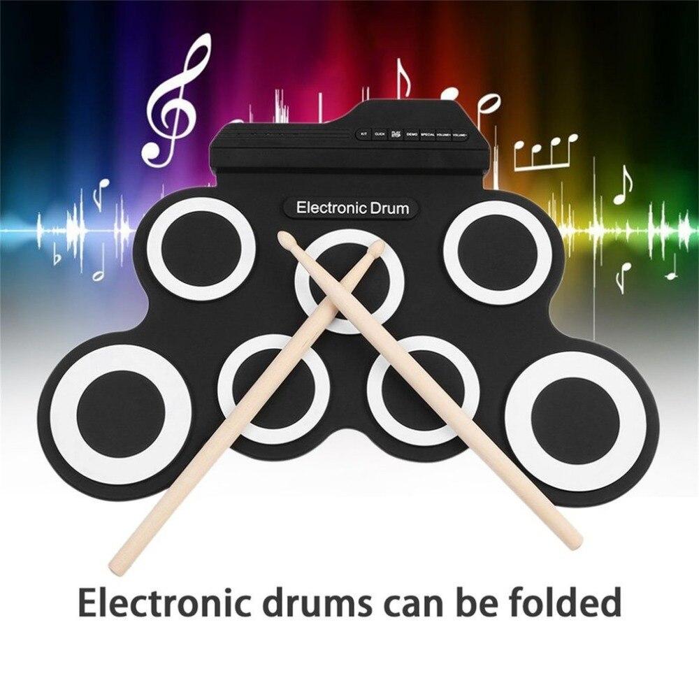 USB электронный барабан G3002 барабан комплект ударный инструмент для детей утолщенный Силиконовый складной рулон