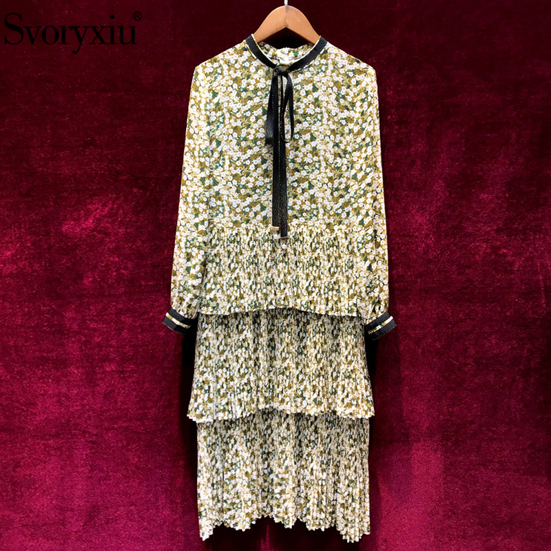 Svoryxiu Designer Brand Spring Summer Floral Print Party Dress Women s Elegant Long Sleeve Tiered Pleated