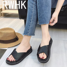 RWHK 2019 summer new slippers Korean fashion wear thick bottom word flat non-slip beach B452