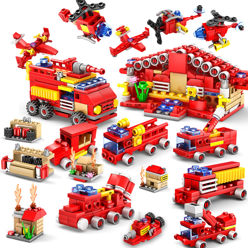 KAZI 414pcs Fire Station Building Blocks Compatible legoed city Firefighter Educational Construction Bricks Hobbies children Toy new classic kazi 8051 city fire station 774pcs set building blocks educational bricks kids toys gifts city brinquedos xmas toy