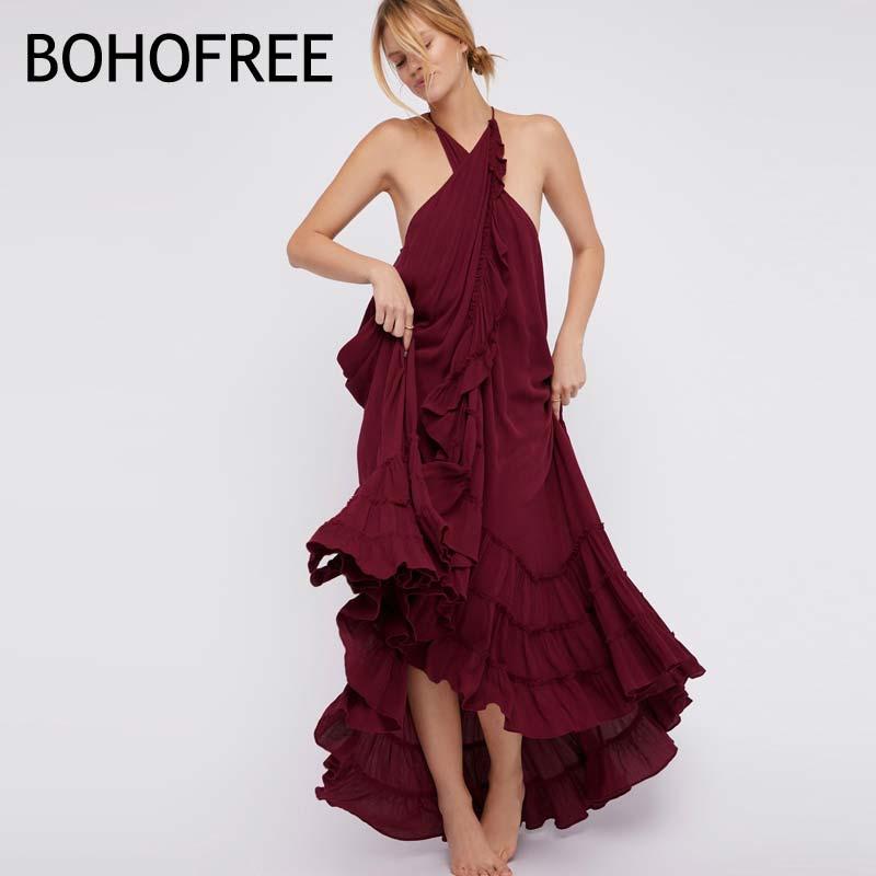 BOHOFREE Dancer Dress Boho People Wrap Vestidos Holiday Beach Long Dress Sleeveless Ruffles Cotton Maxi Hippie Dresses Women wrap maxi boho dress