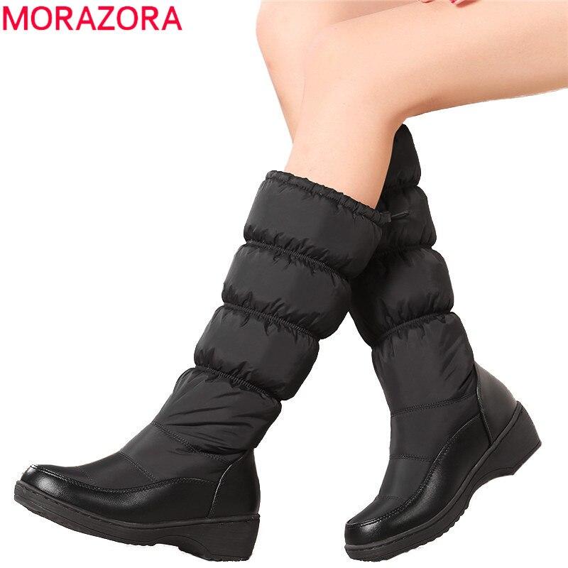 MORAZORA Più Il formato 35-44 Nuovo 2018 donne di Modo boots tenere in caldo giù stivali da neve spessa pelliccia metà polpaccio stivali invernali formato 35-44 bianco