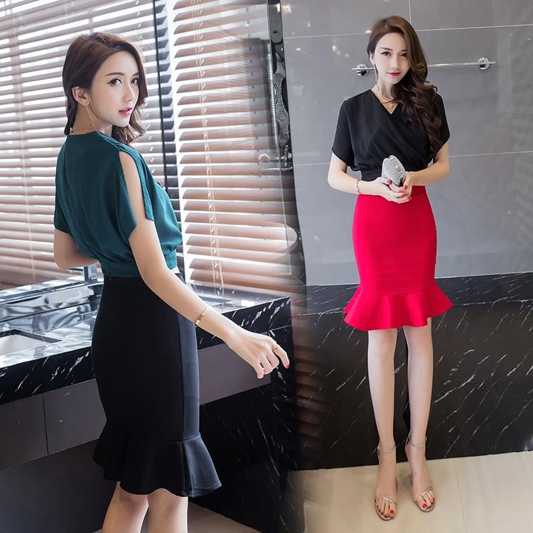 db985887b4 Oficina Faldas nuevas mujeres del estilo coreano de la manera del desgaste  del trabajo del verano formal damas negro rojo sexy ruffle alta cintura  Slim ...