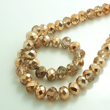 Фотография Wholesale Half Plated Rondelle Faceted Crystal Glass Loose Spacer Beads 4mm 6mm 8mm 10mm  Champagne gold